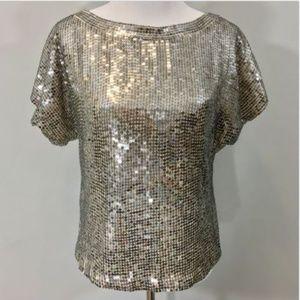Alice + Olivia Sarita Blouse M Silver Sequin Top